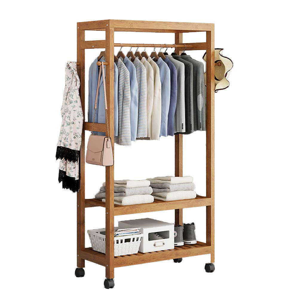 J 69x30x165cm(27x12x65inch) Multipurpose Bamboo Entryway Coat Rack with Shelf, Premium Coat Stand shoes Rack, with Roller Heavy Duty Hall Home-M 50x40x140cm(20x16x55)