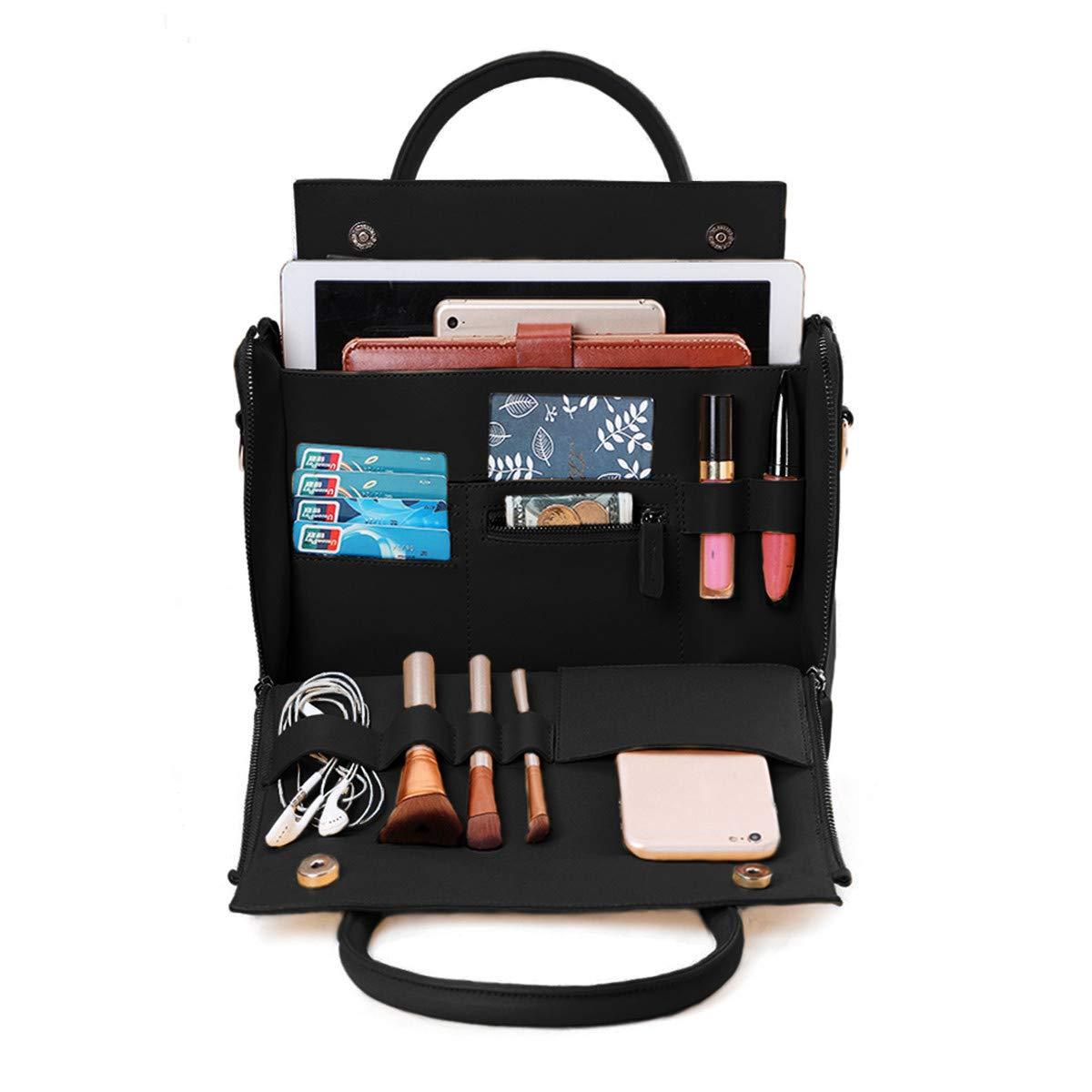 Brenice Travel Makeup Bag, Women Solid Cosmetic Handbag Capacity Bag Multifunction Crossbody Bag Black 9.25''x 4.75''x 6.5''