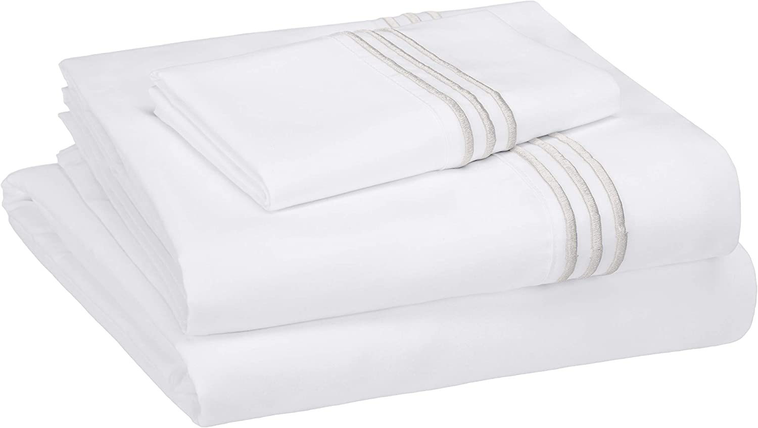 AmazonBasics Premium Embroidered Hotel Stitch Microfiber Sheet Set - Twin, White with Embroidered Light Grey