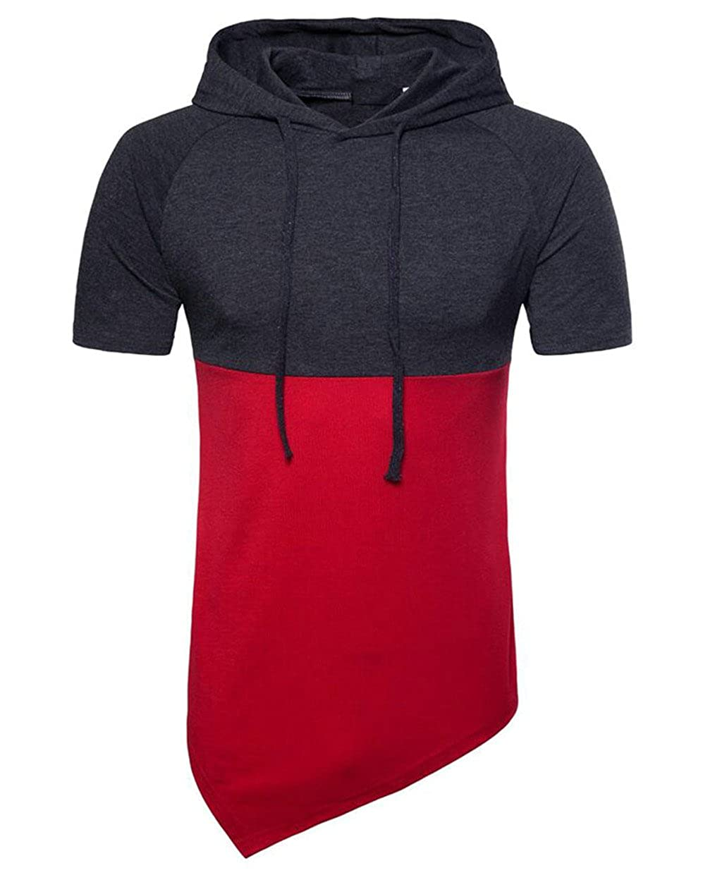 mydeshop Mens Short Sleeve Drawstring Hood Hit Color Asymmetrical-Hem Stitching T-Shirt