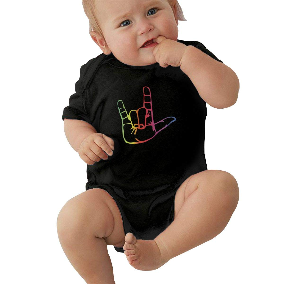 I Love You Sign Language Casual Newborn Baby Short Sleeve Bodysuit Romper Infant Summer Clothing Black