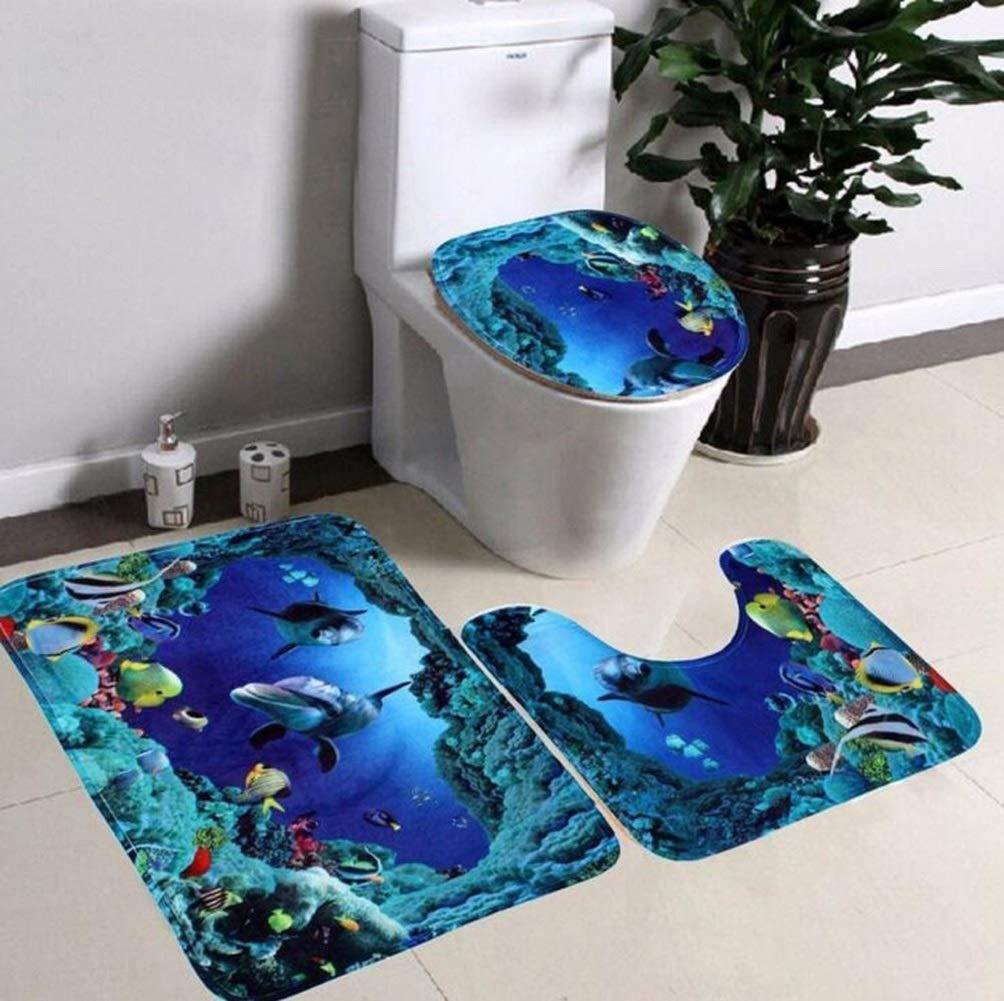 Kopfstein Vi.yo 3 St/ück Badematte Set Flanell Anti-Rutsch Meer Welt WC DREI Sets Teppich Sockel Deckel Matte WC Cover