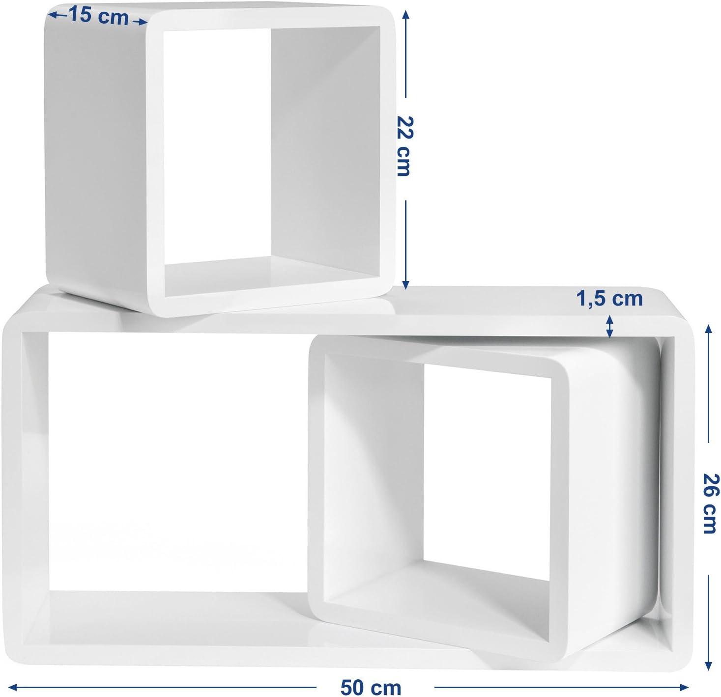 songmics etageres murales lot de 3 etageres suspendues tablettes flottantes longueur 50 22 et 22 cm profondeur 15 cm pour chambre salon