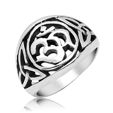 OM (AUM) and Celtic Sterling Silver Ring oGqXVX