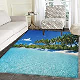 Ocean Print Area rug Relaxing Beach Resort Spa Palm Trees and Sea Exotic Caribbean Coastline Indoor/Outdoor Area Rug 3'x4' Turquoise Blue Green
