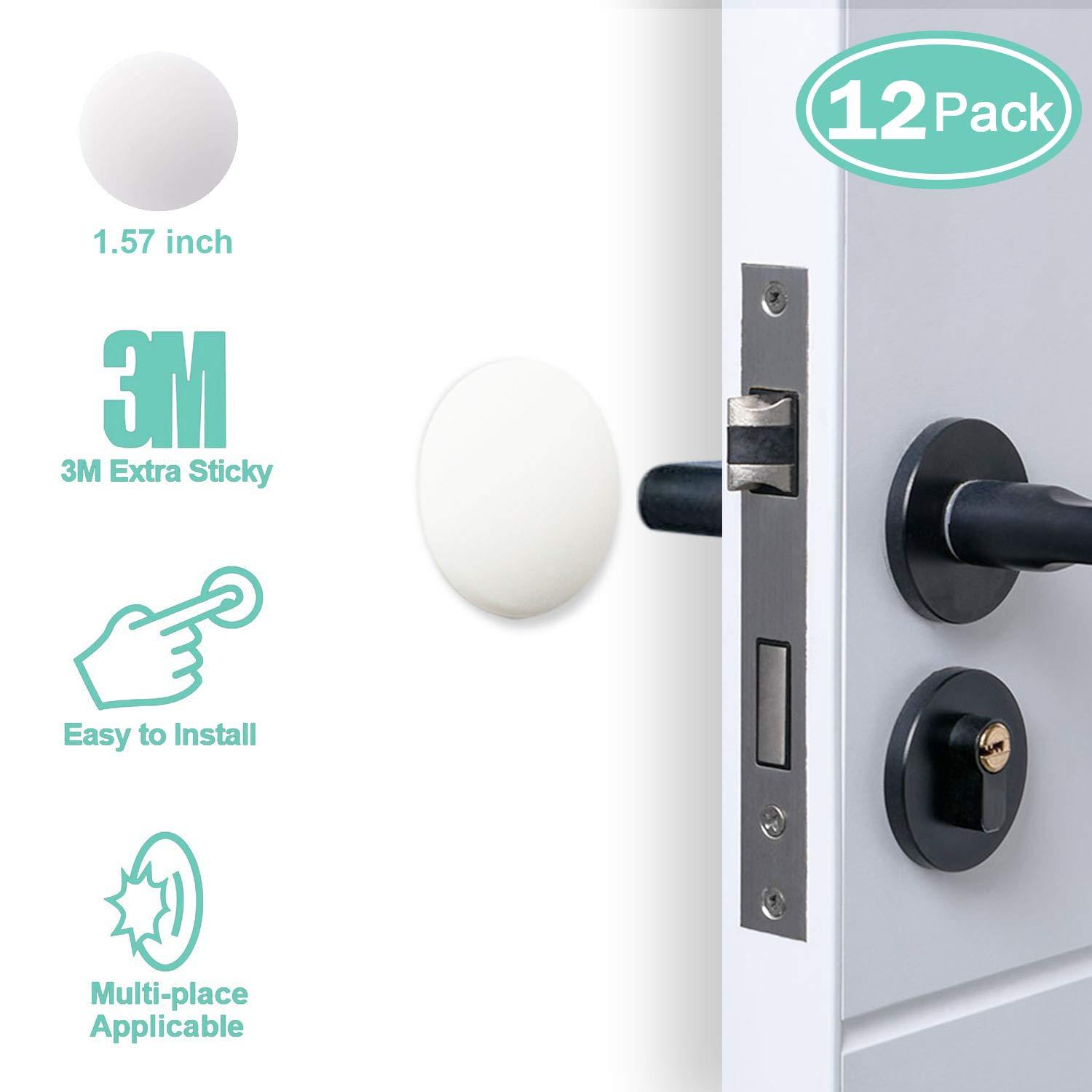 "Door Stopper Wall Protector (12 Pack), 1.57"" Door Stopper Bumper Door Knob Guard Silicon 3M Self Adhesive Prevent Damage to Wall, Doorknobs, Refrigerator Door, White"