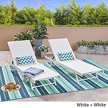 Great Deal Furniture 304998 Simon Outdoor Aluminum and Mesh Chaise Lounge Set of 2 , White