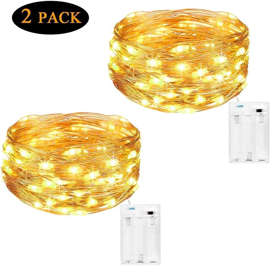 Cadena de Luces para Interiores y Exteriores 4 Metros, 40 LEDs Luces Micro de Hadas a Pilas de Alambre de Cobre Cuerdas para Decoración de Habitación, Pared de Fotos, Árbol de Navidad, Jardín (2 Pack)