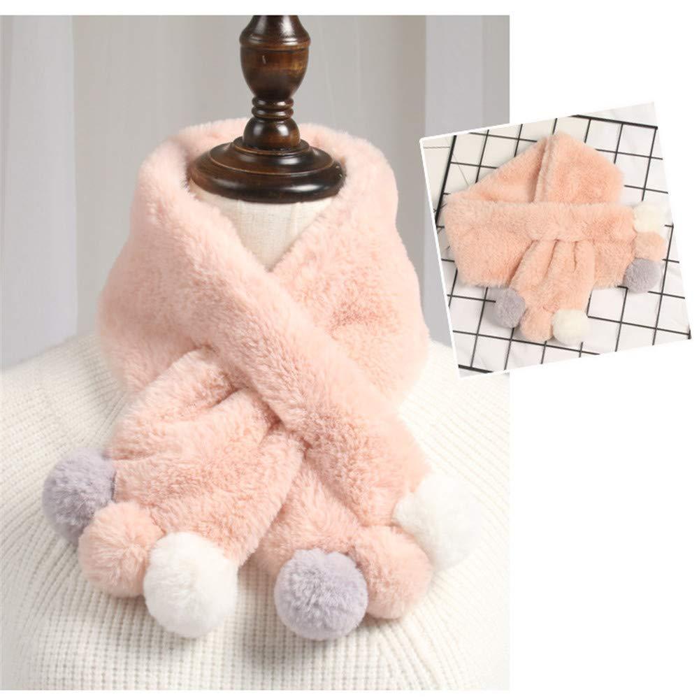 FJROnline Children Winter Scarf Kids Girls Boys Neck Warmer Cute Soft Velvet Scarves Neckerchief with Pompon Decor