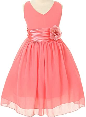 aea9769631fd Image Unavailable. Image not available for. Color: Flower Girl Dress Chiffon  V-Neck Satin Waist Dress Coral 2 MBK1082