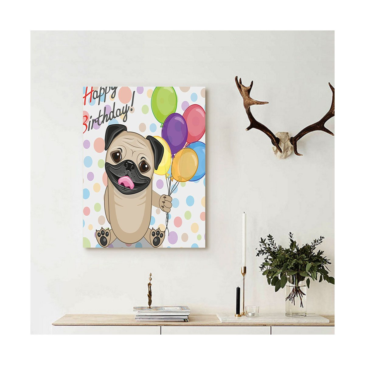 Liguo88 Custom canvas Birthday Decorations for Kids Animal Cute Dog Smiling Pug with Party Balloons Greeting Card Wall Hanging for Multicolor by Liguo88 (Image #1)