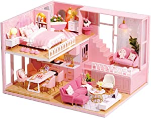 TuKIIE DIY Dollhouse Miniature Furniture Kit, Mini Wooden Doll House Accessories Plus Dust Proof & Music Movement, 1:24 Scale Creative Room