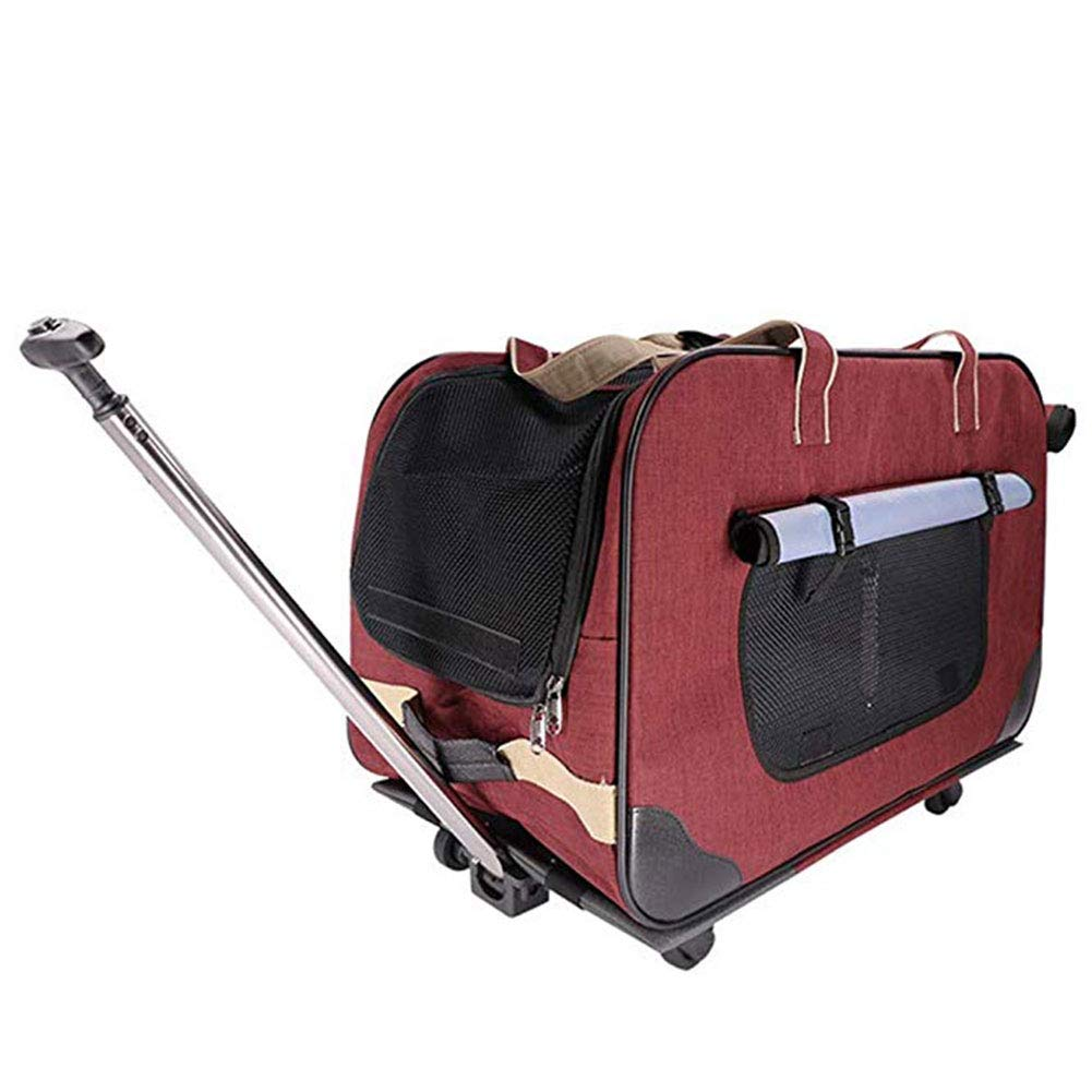 Red Pet Trolley Case, Foldable Dog Cat Suitcase Carrier Bag Trolley Outing Backpack with Wheels Pet Stroller Suitable for Old Dog Puppies