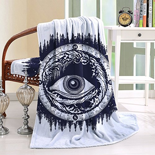 HAIXIA Throw Blanket All Seeing Eye Compass with Directions Spirituality Religion Occultism Dark Blue White (Joseph Wool Flannel)