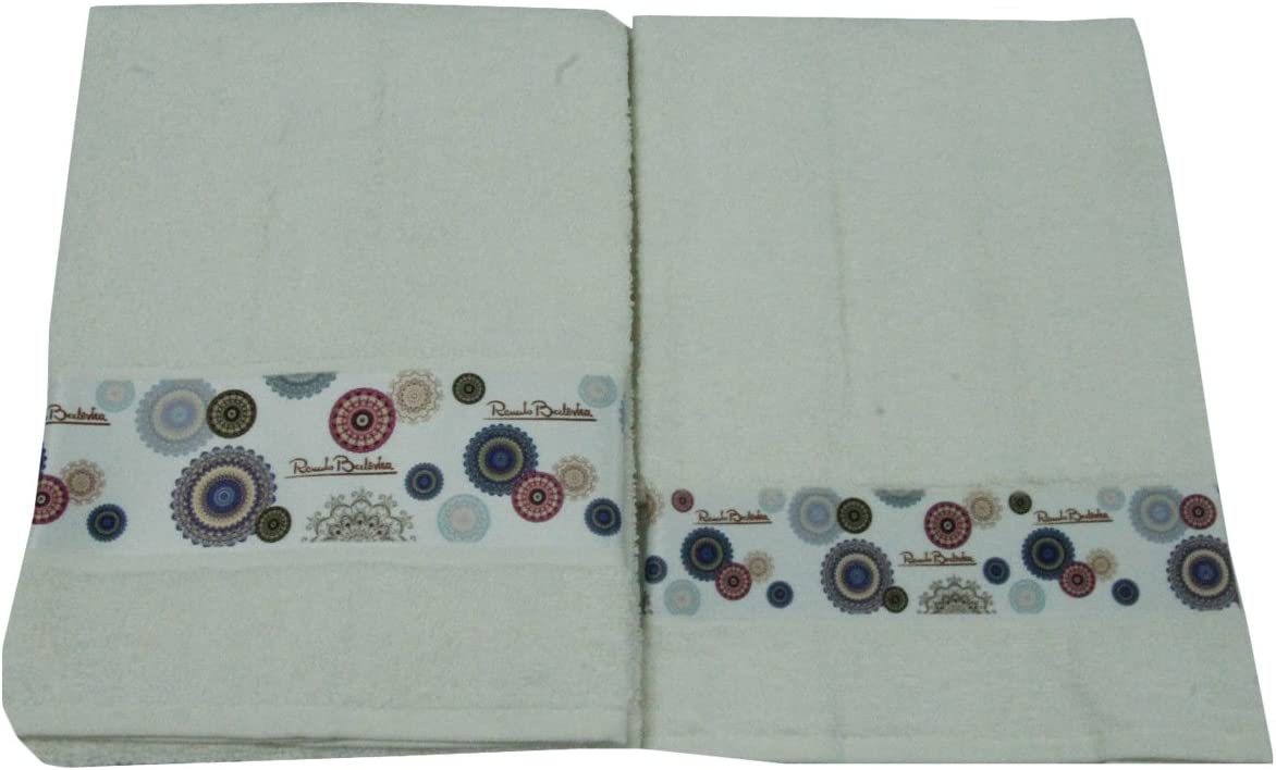 1 Viso e Ospite Renato Balestra Stampa Vari Colori-Beige Set Asciugamani Spugna 1