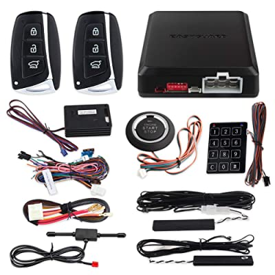 EASYGUARD EC002-HY-NS Smart Key PKE car Alarm System with keyless Entry Remote Engine Start Stop Engine Start Stop Button Touch Password keypad Shock Alarm Warning: Automotive