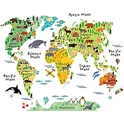 HomeEvolution Large Kids Educational Animal/Famous Building World Map Peel & Stick Wall Decals Stickers Home Decor Art
