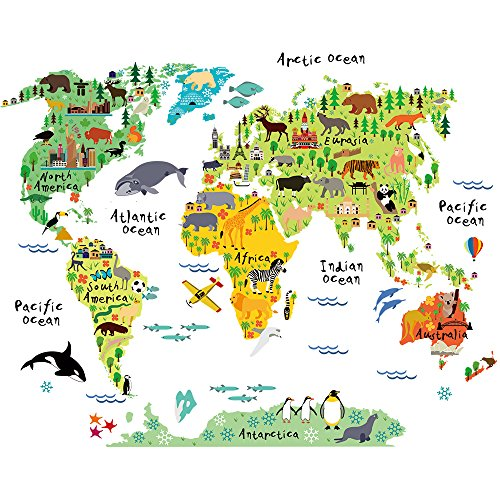 HomeEvolution Large Kids Educational Animal/Famous Building World Map Peel & Stick Wall Decals Stickers Home Decor Art (Animals Of The World Map)
