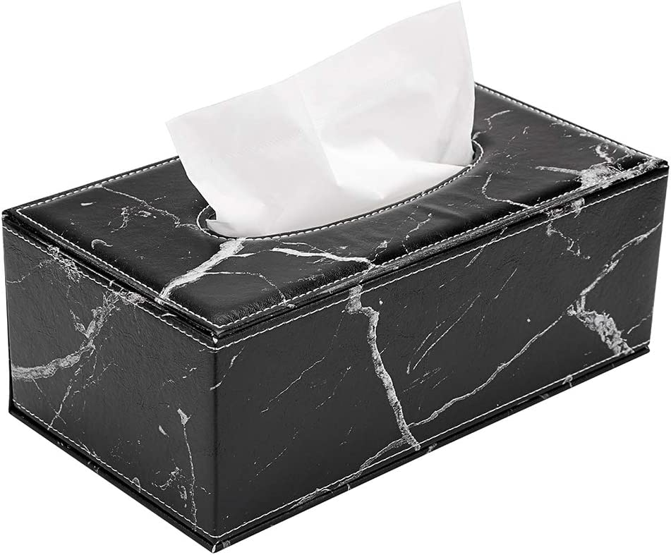 Sumnacon Stylish PU Leather Tissue Box Holder, Rectangular Napkin Holder Pumping Paper Case Dispenser, Facial Tissue Holder with Magnetic Bottom for Home Office Car Automotive Decoration, Marble Black