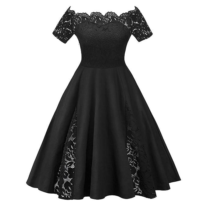 Mujer Vestido de Fiesta Corto Vestidos de Encaje Floral Elegante Vintage Falda Bodas Cóctel Talla Grande, Negro, 2XL
