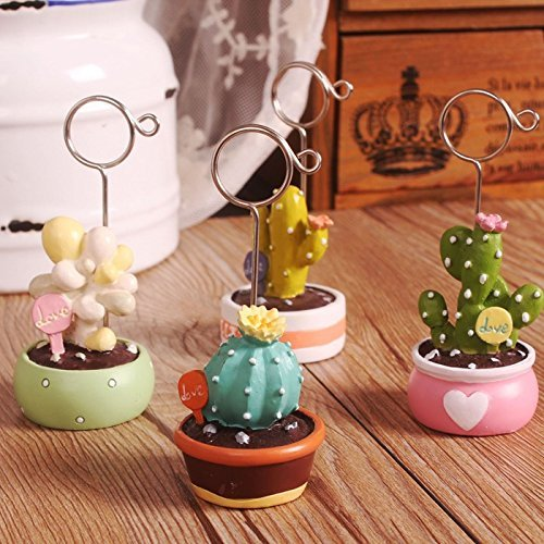 URTop 4Pcs Cactus Bonsai Name Number Message Card Table Place Holder For Wedding Party Home Office Decoration Desk Small Clamps Stand for Office Supplies Accessories