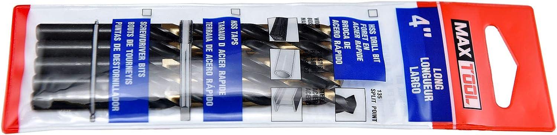 MAXTOOL 5.3mm Metric 5pcs Jobber Length Twist Drill Bits HSS M2 Fully Ground; JBM02H10R053P5
