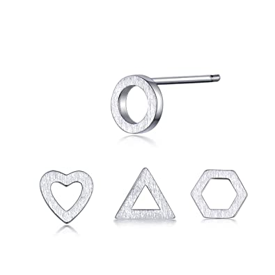 db6c05f27 GULICX Jewellery Set 4 pcs Different Shape 5MM Small Stud Earrings Set 925 Sterling  Silver: Amazon.co.uk: Jewellery
