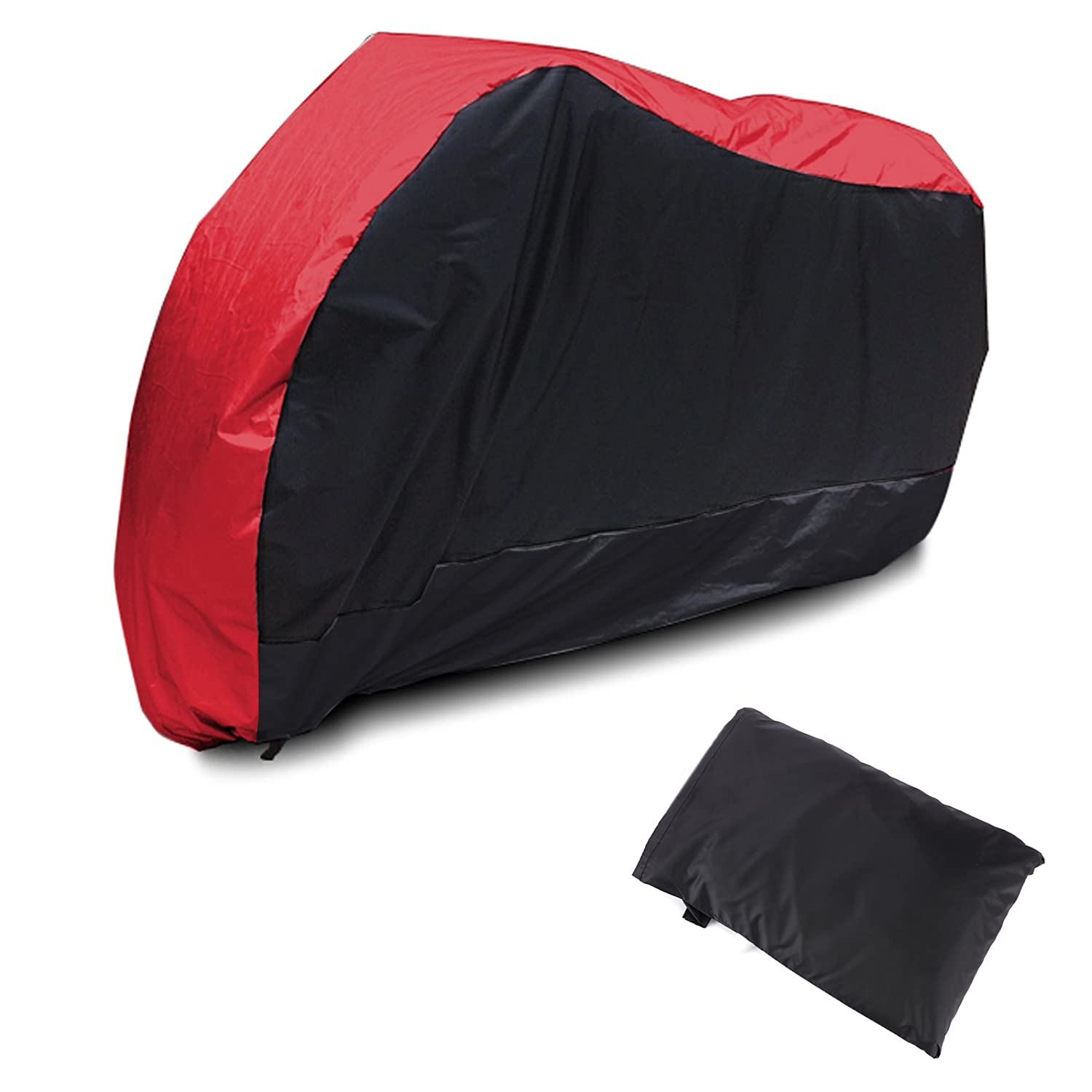 SurePromise Waterproof Motorcycle Cover Motorbike Bike Scooter Breathable Protector with Storage Bag Large Red Black SurePromise Limited