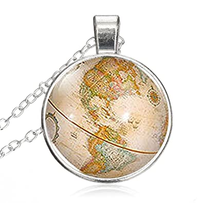 Round Globe Map.Amazon Com Leo Bon Vintage Antique World Globe Map Round Pendant