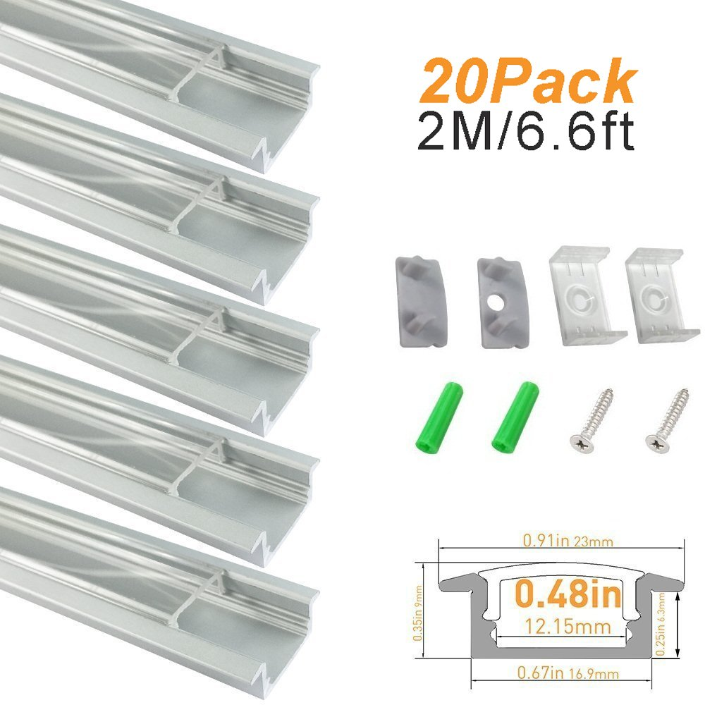 LightingWill Clear LED Aluminum Channel U Shape 6.6Ft/2M 20 Pack Anodized Sliver Track for <12mm 5050 3528 LED Strip Lights Installation with Covers, End Caps, and Mounting Clips TP-U01S20
