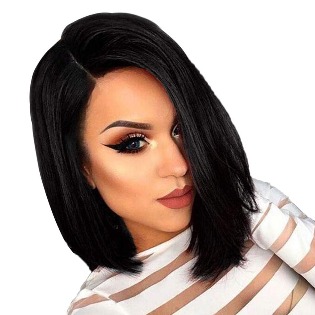 Natural Black Short Bob Straight Synthetic Hair Wig for Women Side Middle Hair Wigs for Party Cosplay Costume Daily Life