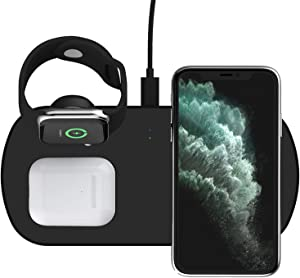 OIFEN 3 in 1 Wireless Charger Stand for Apple Watch 5 4 3 2 1, AirPods 1/2/ Pro and iPhone 11 Pro Max Xs X Max XR Samsung Galaxy S7 S8 S9 S10 S20 and Qi-Certified Phones