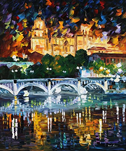 Leonid Afremov Original Image From Painting Spain Salamanca Print On Artistic Cotton Canvas, Size: 36''X30'' by Leonid Afremov