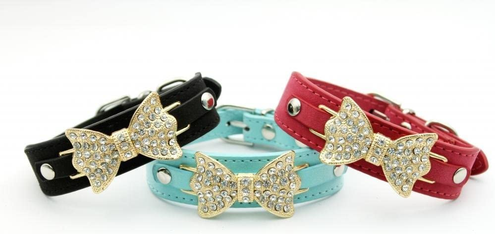 Dogs Kingdom Velvet Bow Rhinestone Necklace Bling Pet Collars for Small Pets Cats Collar