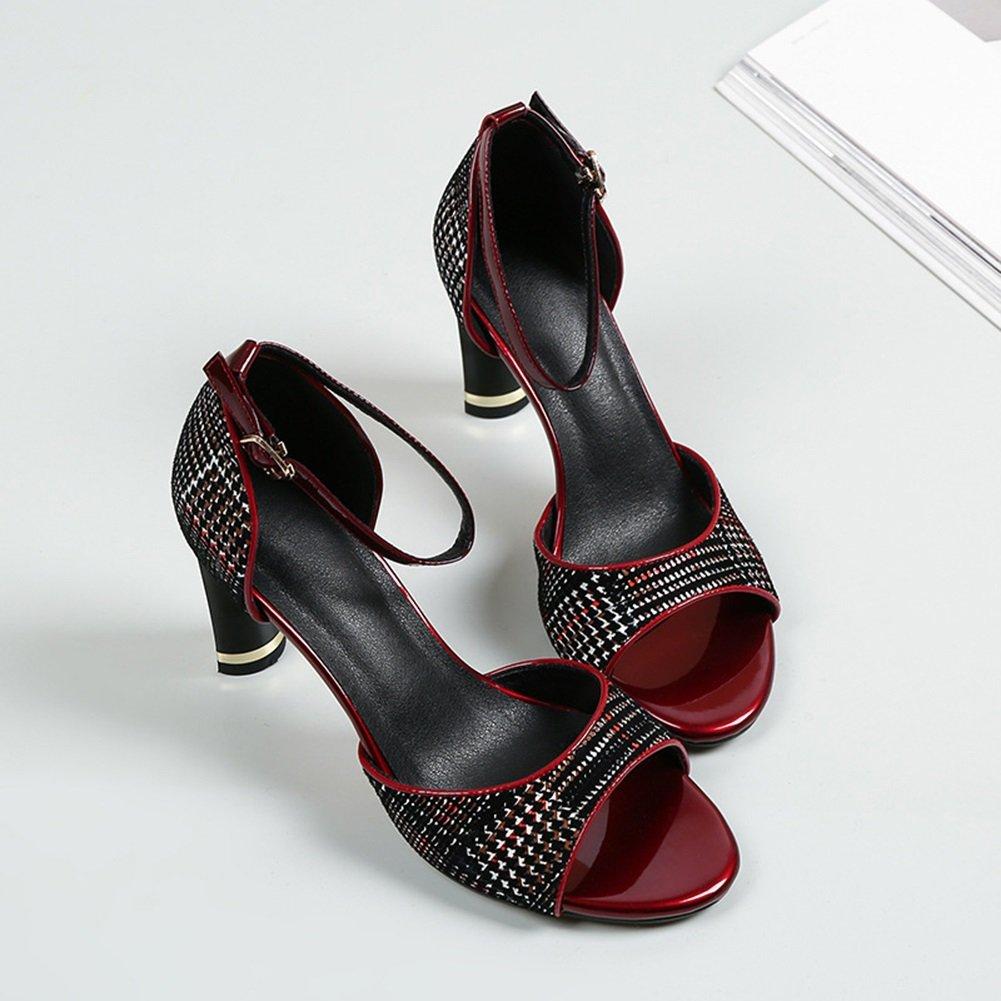 CAI Damen Sandalen mit hohen Absätzen Sandaletten mit hohen Absätzen Sommer Ferse Sandalen weibliche Sommer offene Zehe weibliche Schuhe mit hohen Sandaletten (Farbe   Rot Größe   38)