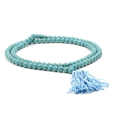 Ovalbuy 10mm 108 Howlite Beads Buddhist Prayer Rosary Mala Necklace b1mREI