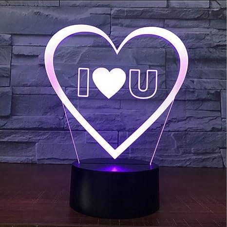 Zonxn 7 Color Changing Acrylic Heart Shape Led Night Lights