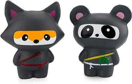 Amazon.com: watinc 2pcs Jumbo Squishy, Kawaii Ninja Panda ...