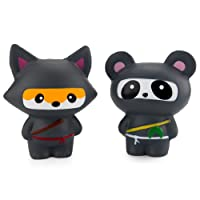 WATINC 2Pcs Jumbo Squishy, Kawaii Ninja Panda & Ninja Fox Sweet Scented Slow Rising Squishy for Kid Toy, Lovely Toy, Stress Relief Toy, Decorations Toy Gift Fun