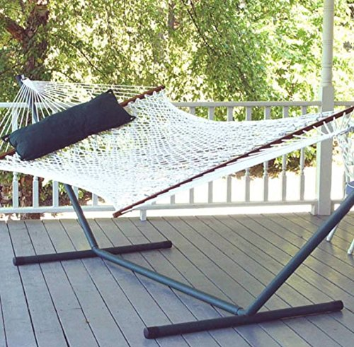 (TropiRest XL Polyester Rope Double Hammock with 15 ft. Steel Hammock Stand, Pewter Stand)