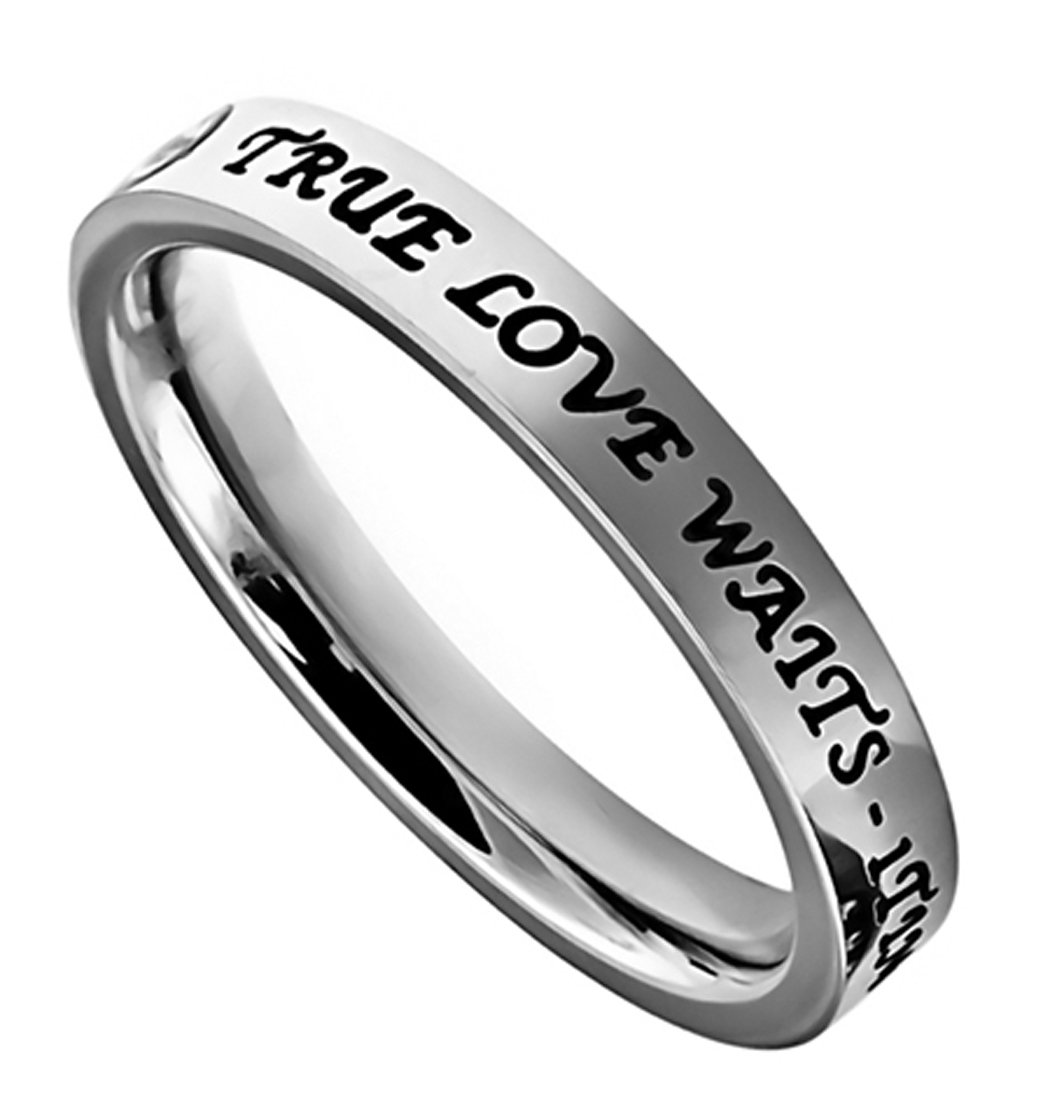 K2 True Love Waits Stainless Steel Engagement Purity Band Ring Abstinence (7) by Christian Rings (Image #1)