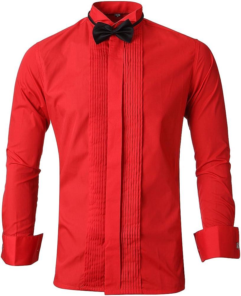 Harrms Camisa de manga larga con botones ajustados, pajarita y gemelos para hombre El cuello 15