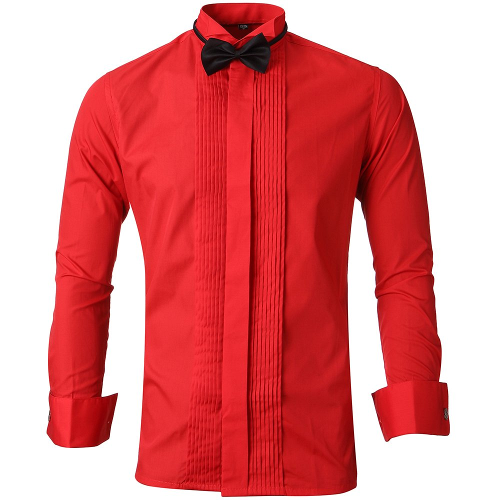 Mens Tuxedo Shirts Wing Collar Slim Fit Formal Shirts With French Cuffs And Bow Tie Red