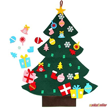 waikei wall hanging 3ft felt christmas tree set with ornaments xmas decoration - Felt Christmas Ornaments