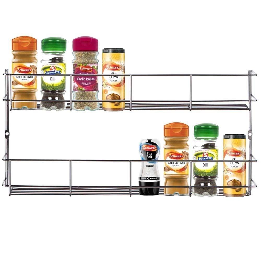 Amazon.com: YonTree 2 Tiers Steel Spice Rack Herb Jar Holder Cabinet ...