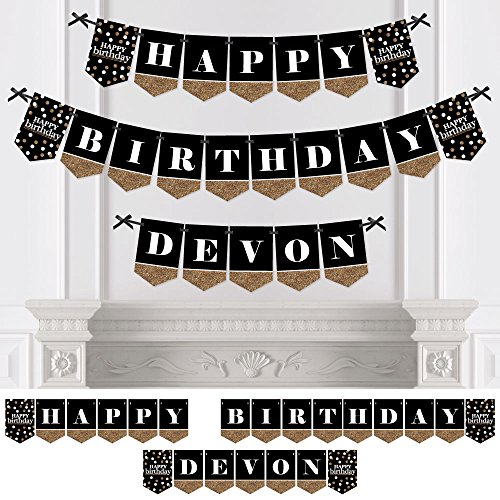 Customized Banner For Birthday (Custom Adult Happy Birthday - Personalized Birthday Party Bunting Banner & Decorations - Happy Birthday Custom Name)