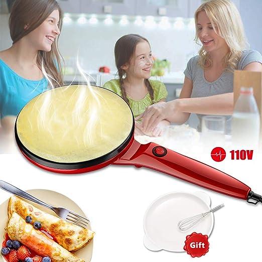 "Bacon Tortillas Pancakes Portable Crepe Maker Electric Griddle 8/"" Non-stick Crepe Pans for Crepes Electric Crepe Maker with Non-Stick Coating Free Gift Batter Pot /& Egg Beater Blintzes"