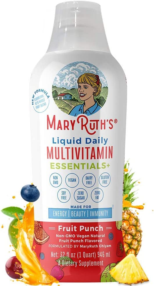 Daily Liquid Vegan Multivitamin by MaryRuth (Fruit Punch) w/Organic Whole Food Blend + Elderberry - Vitamin A B C D3 E Trace Minerals & Amino Acids for Energy & Immunity Men Women Kids 0 Sugar 32oz