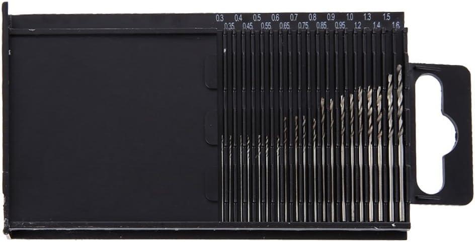 20pc//set Tiny Micro HSS Twist Drill Bit Set 0.3mm-1.6mm Model Craft Tool w// Case