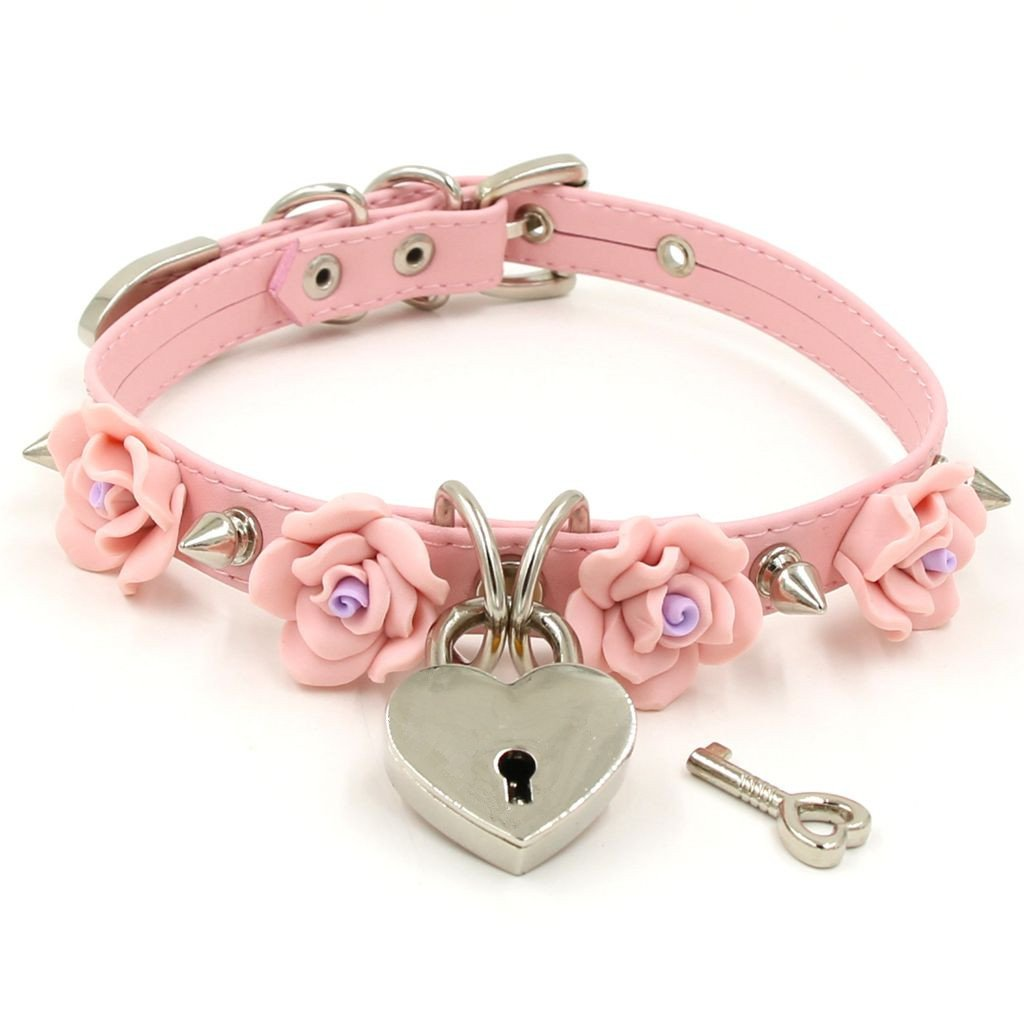Handmade Clay Flowers Spikes Heart Lock Faux Leather Choker Collar (Pink with silver alloy)